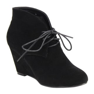 Beston DE06 Women's Faux-suede Lace-up Front High-top Wrapped-hHeel Ankle Wedge Booties