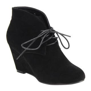Beston DE06 Women's Lace-up Wrapped Heel Ankle Wedge Booties Run One Size Small|https://ak1.ostkcdn.com/images/products/13959529/P20588309.jpg?impolicy=medium