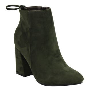 Beston Women's Drawstring Ankle-high Side Zip Wrapped Block Heel Booties|https://ak1.ostkcdn.com/images/products/13959530/P20588310.jpg?impolicy=medium