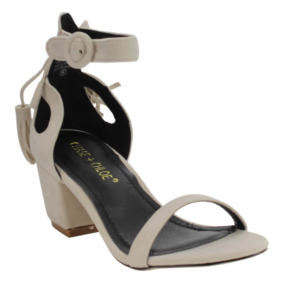 Chase & Chloe EF24 Women's Tassel Ankle Strap Cut-out Wra...