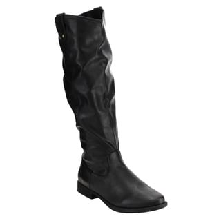 Bamboo Women's Black Faux-leather Knee-high Riding Boots