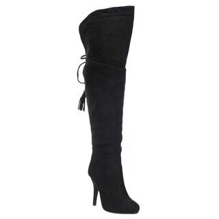 Forever IC07 Women's Over-the-knee Drawstring Tassel Stiletto Heel Boots