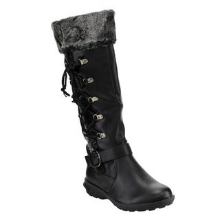 Forever IC16 Women's Side Lace-up Buckle Strap Knee-high Winter Boots