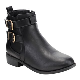 Top Moda Women's EF38 Double Buckle Strap Elastic Stacked Ankle Booties