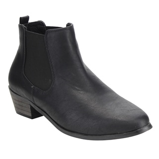 LILIANA Women's EF32 Chelsea Slip-on Stacked Ankle Booties
