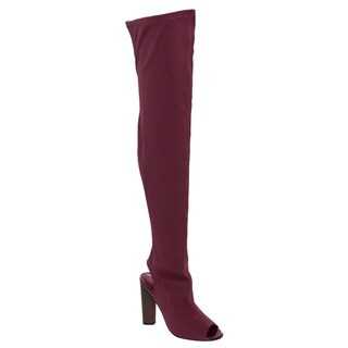 Beston FG20 Women's Lycra Stretchy Over-the-Knee Peep-toe Stacked-heel Boots