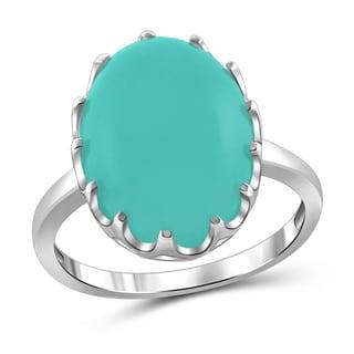 JewelonFire Sterling Silver Genuine Chalcedony Gemstone Ring