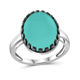 JewelonFire Sterling Silver Genuine Chalcedony Gemstone Ring