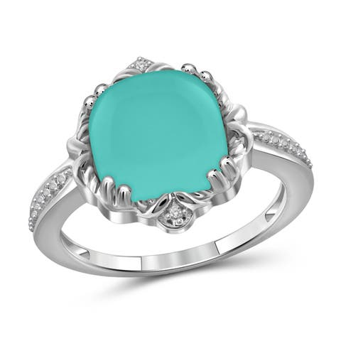 JewelonFire Sterling Silver Genuine Chalcedony & Diamond Accent Ring