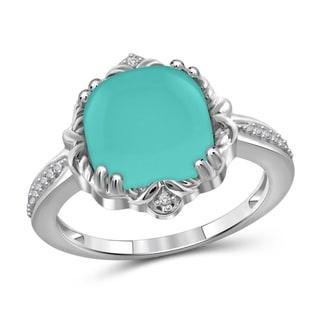JewelonFire Sterling Silver Genuine Chalcedony Gemstone and White Diamond Accent Ring