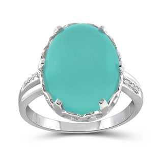 JewelonFire Sterling Silver 9 3/4ct TGW Oval Chalcedony Ring