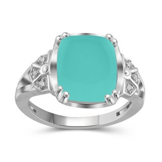 JewelonFire Sterling Silver 5ct TGW Chalcedony and Diamond Accent Ring