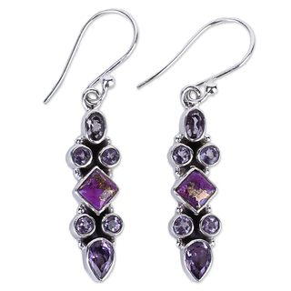 Handcrafted Sterling Silver 'Mesmerizing Shapes' Amethyst Composite Turquoise Earrings (India)