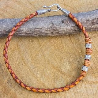 Men's Handcrafted Leather 'Walk the Russet Path' Bracelet (Thailand)