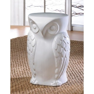 Artistic White Owl Ceramic Stool