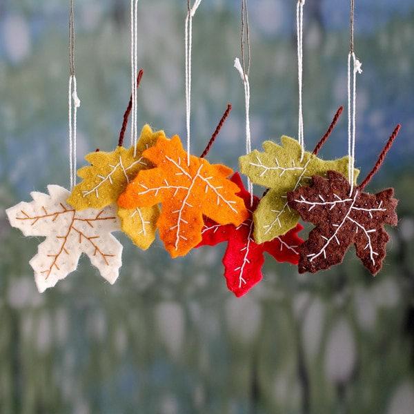 Set of 6 Handmade Wool 'Maple Glory' Ornaments (India)