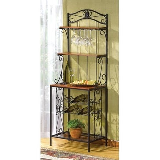 Bradley Metal and Wood Wine Storage Rack