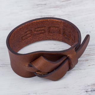Handcrafted Leather 'Nazca Dark Camel' Bracelet (Peru)