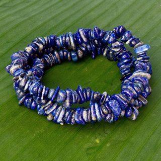 Set of 3 Handcrafted Lapis Lazuli 'Ipanema Ocean' Bracelets (Brazil)