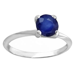 18k White Gold 1ct Round Blue Sapphire Bridal Solitaire Ring