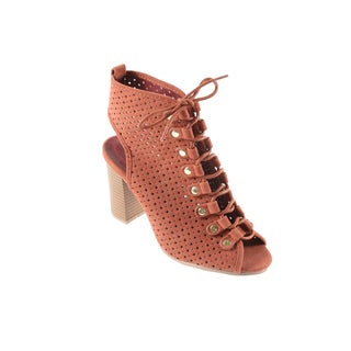 Hadari Women's Lace Up Heeled Bootie