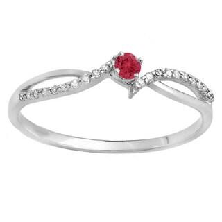 10k Gold 1/6ct Round Ruby and Diamond Crossover Split Shank Engagement Ring (I-J, I2-I3)