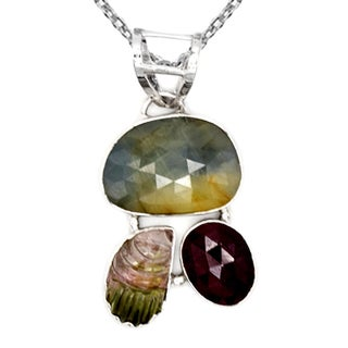 Orchid Jewelry One of a Kind 925 Sterling Silver 19 6/7 Carat Sapphire and Tourmaline Designer Necklace