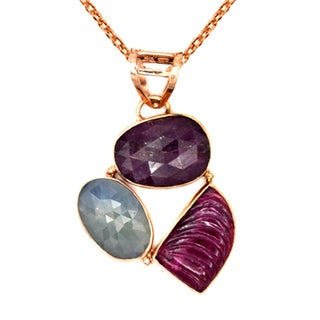 Orchid Jewelry One of a Kind Rose Gold Over 925 Silver 19 2/3 Carat Sapphire and Tourmaline Designer Necklace