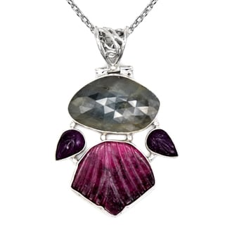 Orchid Jewelry One of a Kind 925 Sterling Silver 27 3/4 Carat Sapphire, Ruby and Tourmaline Designer Necklace