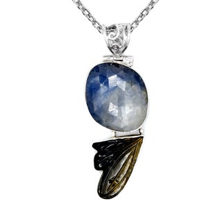 Orchid Jewelry One of a Kind 925 Sterling Silver 40 Carat Sapphire and Tourmaline Designer Necklace