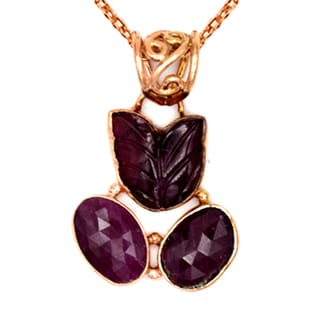 Orchid Jewelry One of a Kind Rose Gold Over 925 Silver 13 4/5 Carat Tourmaline and Ruby Necklace
