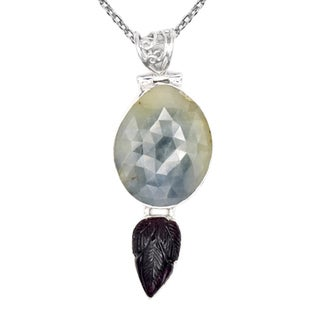 Orchid Jewelry One of a Kind 925 Sterling Silver 28 3/4 Carat Sapphire and Tourmaline Necklace