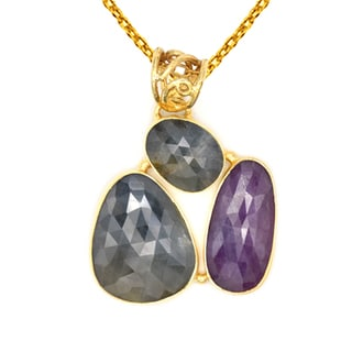 Orchid Jewelry One of a Kind Gold Over Silver 31 7/8 Carat Sapphire Necklace