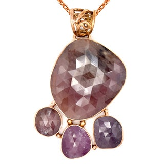 Orchid Jewelry One of a Kind Rose Gold Over 925 Silver 47 2/5 Carat Sapphire Necklace
