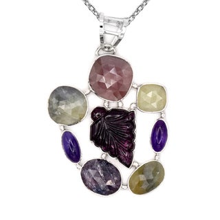 Orchid Jewelry One of a Kind 925 Sterling Silver 34 2/3 Carat Sapphire, Amethyst and Tourmaline Necklace