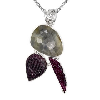 Orchid Jewelry One of a Kind 925 Sterling Silver 35 3/5 Carat Sapphire and Tourmaline Necklace
