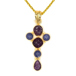 Orchid Jewelry One of a Kind Gold Over Silver 11 1/8 Carat Ruby and Tanzanite Necklace