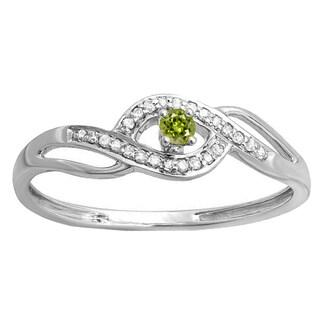 10k Gold 1/6ct Round Peridot and Diamond Engagement Ring (I-J, I2-I3)