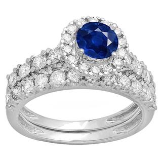10k Gold 2ct Round-cut Blue Sapphire and Diamond Wedding Band Set (H-I, I1-I2)