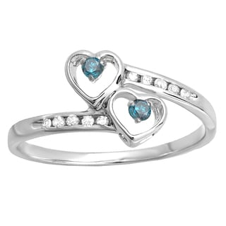 Sterling Silver 1/6ct TDW Round Blue and White Diamond Bridal Double Heart Promise Ring (I-J, I2-I3)