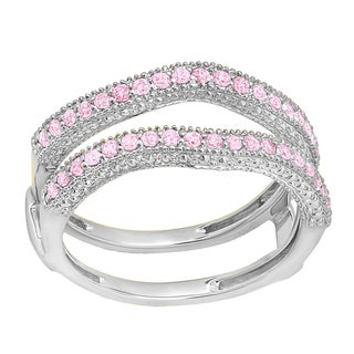 14k Gold 3/8ct Round Pink Sapphire Anniversary Guard Double Ring