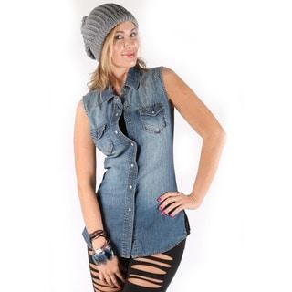 Hadari Women's Classic Sleeveless Denim Shirt