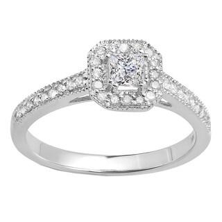 10k Gold 1/2 ct Princess and Round Diamond Halo Style Bridal Engagement Ring (H-I, I1-I2)