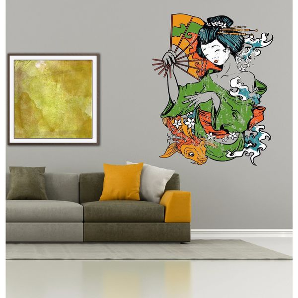 Full color decal Geisha girl sticker, Geisha girl wall art decal Sticker Decall size 44x60