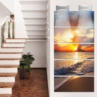 Designart 'Yellow Sunset Through Dark Clouds' Large Seashore Glossy Metal Wall Art