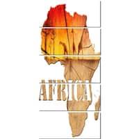 Designart 'Africa Map Wooden Illustration' Glossy Metal Wall Art