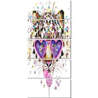 Designart 'Funny Leopard with Heart Glasses' Oversized Animal Metal Wall Art