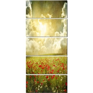 Designart 'Wild Poppies on Cloudy Background' Extra Large Landscape Glossy Metal Wall Art