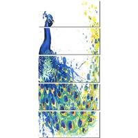 Designart 'Exotic Peacock Watercolor' Contemporary Animal Glossy Metal Wall Art