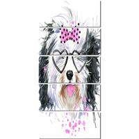 Designart 'Cute Dog with Heart Glasses' Contemporary Animal Glossy Metal Wall Art